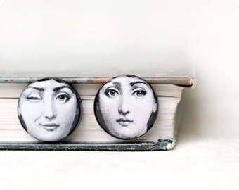 Fornasetti earrings - Fornasetti jewelry - Fornasetti print - Black and white - Stud earrings - Free shipping / STD08