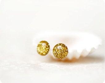 Gold glitter earrings - glitter jewelry - little earrings - stud earrings - small earrings - yellow jewelry.