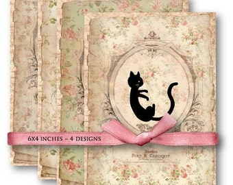 Digital Collage Sheet Download - Cat Shabby Floral Papers  -   576  - Digital Paper - Instant Download Printables