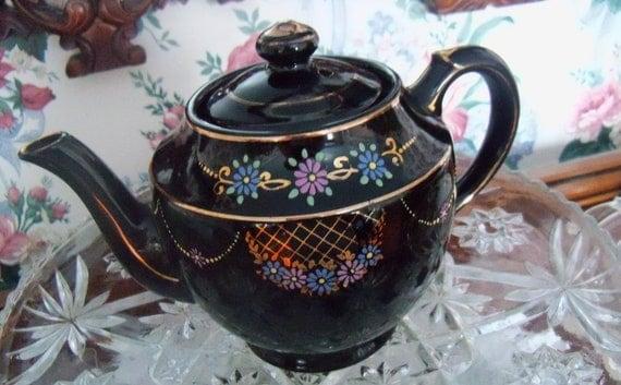 Vintage Redware Teapot Black Glaze  Made in Japan c.50's