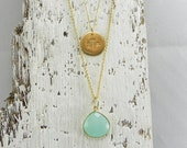 Monogram Necklace, Initial Necklace 14k Gold Fill, Birthstone Necklace Double Strand Necklace -Personalized, Aqua Chalcedony