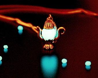Teapot silver pendant / GLOW in the DARK / Teapot Necklace / Glow Teapot Pendant /