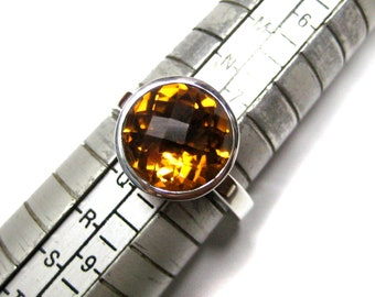 925 Sterling Silver Ring studded AAA Quality Chekker Cut Faceted Round Citrine Gemstone , Super Fine Citrine Ring , Engagement Rings
