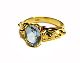24kt. Gold Plated 925 Sterling Silver Ring setted Faceted Aquamarine Oval Shape Gemstone , Fine Aquamarine Ring , Engagement Rings
