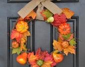 "Harvest Wreath, Pumpkin Fall Wreath, Thanksgiving Wreath, Thanksgiving Decor, Autumn Wreath, Fall Decor, Pumpkin Wreath,18"" Grapevine Wreath"