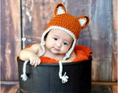 Little Fox Baby Hat, Toddler Earflap Beanie, 12-24 months or you choose size