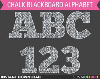 80% OFF SALE Chalkboard Alphabet, chalkboard clipart, chalk clipart, chalk alphabet, digital chalk, chalk letters, teacher clipart