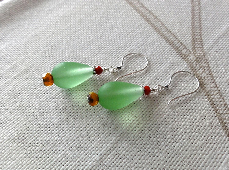 Beach glass christmas tree earrings green sea holiday