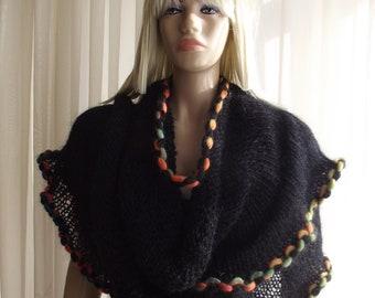 CANDY - Hand Knitted Shawl / Black Shawl / Framed Shawl / Long Shawl / Hand Knitted Scarf / Soft Shawl / MultiColor Shawl / 50% OFF !!!