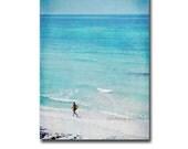 Retro Style Beachy Surf Photography, Island Aqua Turquoise Blue Coastal Ocean Decor For Him, Artistic Surfer Beach Cottage Print - 5x7 Photo