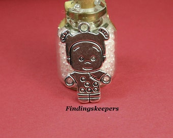 Girl Charms, ( 8 ) Antique Silver, 26 x 15 mm U.S Seller ts 094
