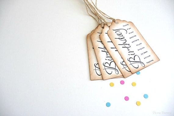 Birthday // Calligraphy // Birthday Greeting // Vintage Inspired // Gift Tags // Set of 4