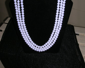 Vintage Milk Glass Necklace  Antique 3 strands of Beautiful glass beads  clean vintage clasp  Wedding Bridal  Vintage