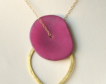Tagua Nut Necklace- Gold filled Necklace- Tagua Jewelry- Tagua Necklace- Pendant Necklace- Bridesmaid Necklace- Gold Vermeil- Pink Necklace