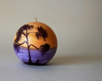 Handpainted Candle Ball - Sunset At The Beach - Painted Ocean And Pine - Marine Decor - Beach Cottage Decor - Nautical Candle