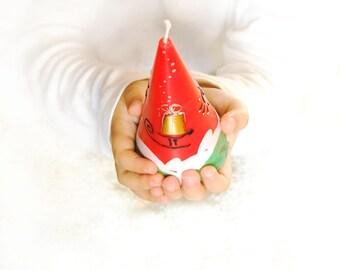Christmas Candle - Golden Gift On The Sled - Hand Painted Candle Christmas Gift - Christmas Table Decor - Traditional Color Christmas Decor