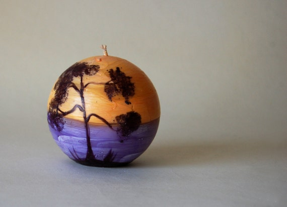 Hand Painted Candle Ball - Sunset At The Beach - Painted Ocean And Pine