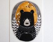 Bear Illustration - Animal Art Painting - Archival Print - 5x7 Rafi the Honey Bear