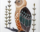 Owl Illustration Art - Watercolor Painting - Archival Print - Little Owl Mosi by Marisa Redondo