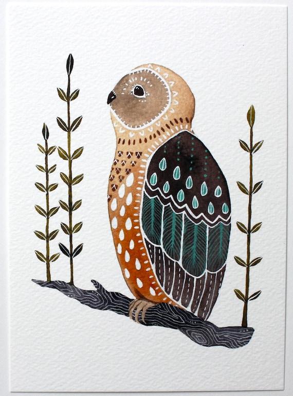 Owl Illustration Art - Watercolor Painting - Archival Print - Little Owl Mosi by Marisa Redondo