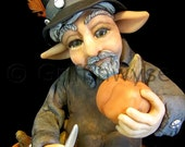 Art doll, figurine, Pumpkin carver elf - Gregory - Griffinwyse