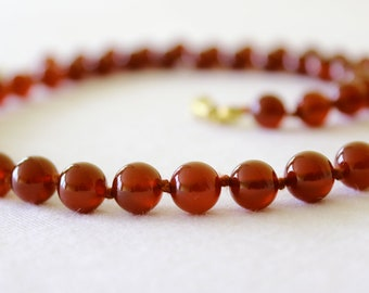 "Carnelian Necklace 8mm Carnelian Beads. Grade 'A' Therapeutic Healing Grade. 22"" Hand Knotted. MapenziGems"