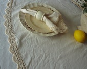 Tablecloth, Round Cream Linen with Crocheted Lace Edge French Chic, Cottage Chic, Shabby Chic