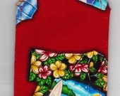 Luggage Tag Hawaiian Vintage Shirt Surfer Custom Fabric Handmade Gift Card Holder Travel Accessory Beach Retro Cruise Destination Wedding