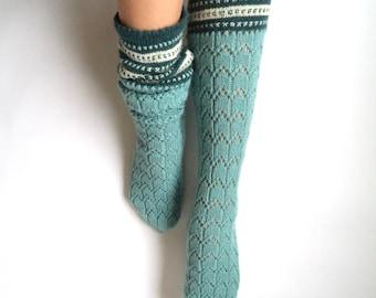 Boot socks. Knee high socks. Leg warmers. Mint green with white and teal. Wool socks. Hand knit socks. Lace socks. Geometric pattern.