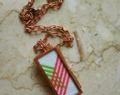Neon Green & Pink Chevron Cross Stitch Necklace