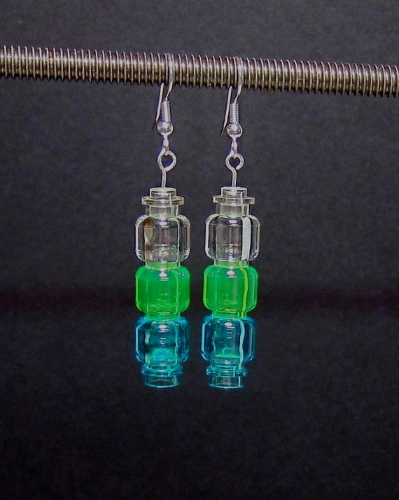Blue, green, & clear earrings with silver plated ear wires