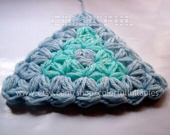 Jasmine stitch Triangle Crochet Pattern. Puff stitch crochet pattern. Afghan block