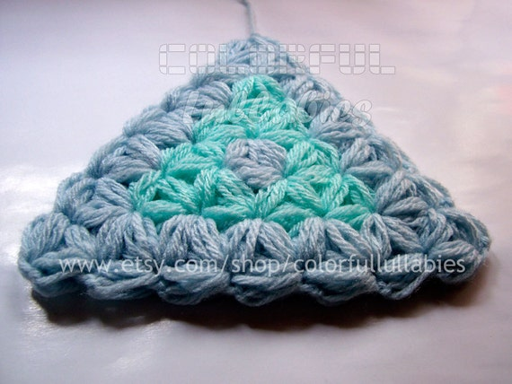 Jasmine stitch Triangle Crochet Pattern. Puff stitch crochet pattern. Afghan block