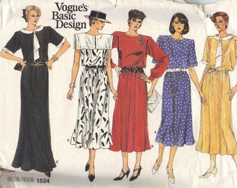 Vogue Sewing Pattern 80s Designer Dress Day Evening Length Sailor Collar Short Long Sleeves Loose Fit Uncut FF Bust 32