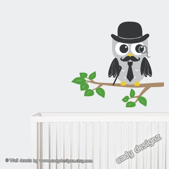 Grandfather Owl Decal - Children Decor - Baby Nursery Decor - Moustache Hat Tie Cane Monocle - Vinyl Wall Stickers - Cute Owl Art - 18x16