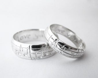 Your Song Wedding Bands - White Gold - Any Song - One of a Kind - Personalized Wedding Bands- Unique Design - Rickson Jewellery