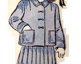 Butterick 4262 Adorable Vintage 40s Little Girls' Two Piece Box Jacket Suit with Skirt Sewing Pattern Size 4 b 23