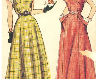 Simplicity 2806 Vintage 40s Super Nice Summer Sundress Square Neckline Sewing Pattern Size 14 Bust 32