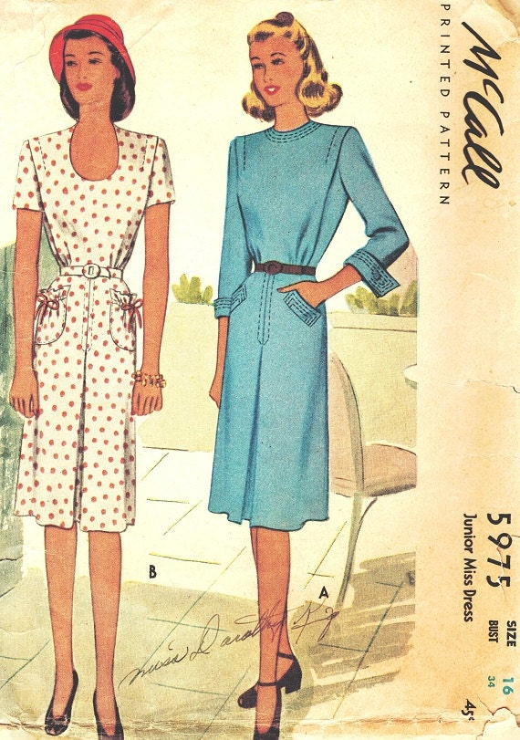 McCall 5975 Vintage 40s Lovely Dress with Pleat & Pocket Detail Sewing Pattern Bust 34