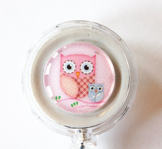 Owl, Badge Reel, ID Badge Holder, Retractable id, Badge clip, Name Tag, id badge clip, badge reel, Pink, Pink Owl (1395)
