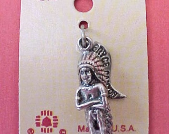Vintage Sterling Silver Native American Indian Chief Charm on the Original Card