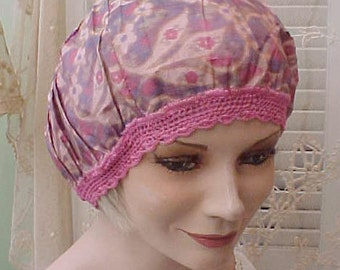 Charming Art Deco Era Sleeping Cap-Unusual Pink and Purple Colors