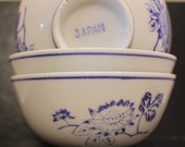 Vintage Japanese Bowl Set of Three - White with Blue Flower Branch Decoration