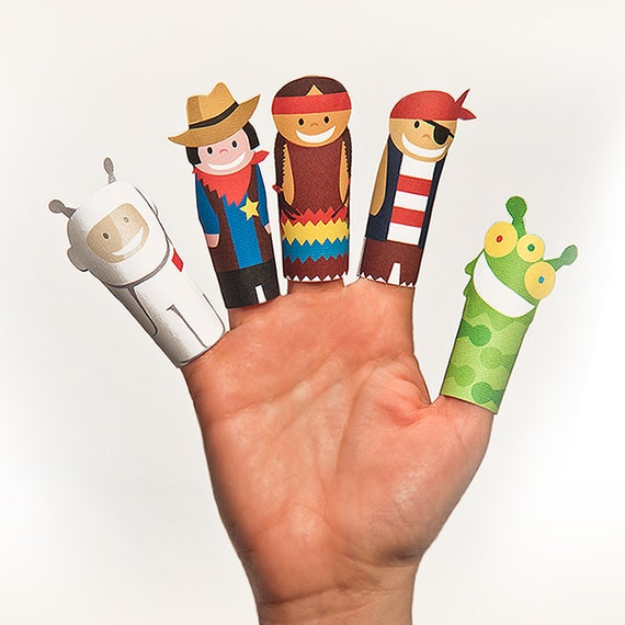 FANTASTIC Heroes Paper Finger Puppets - Printable PDF Toy - DIY Craft Kit Paper Toy