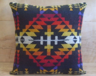 Wool Pillow - Black Red Cross Geometric Tribal Native