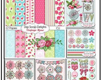 Vintage Rose Digital Scrapbook Kit Bundle, Digital Clip Art, Cath Kidson Style Cards, Instant Download