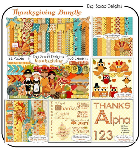 digital scrapbooking thanksgiving kit