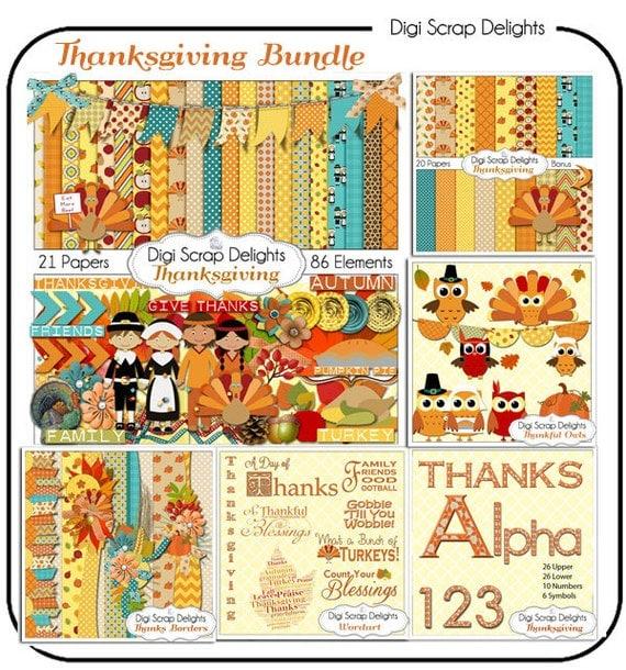 digital scrapbooking thanksgiving kit
