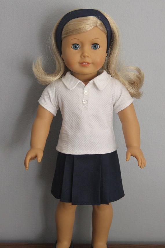 American Girl Doll school uniform - white polo shirt, navy skirt and headband