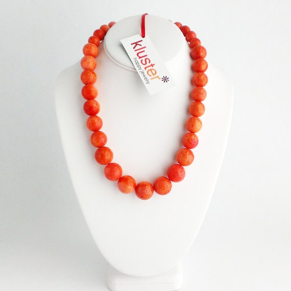 coral statement necklace by kluster salmon coral by kluster